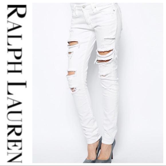 Ralph Lauren Denim - 💕SALE💕 Ralph Lauren White Skinny Ripped Jeans